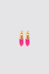 FUCHSIA RUBBERIZED SMALL GOLD EARRINGS