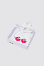 Load image into Gallery viewer, FUCHSIA RUBBERIZED SMALL GOLD EARRINGS