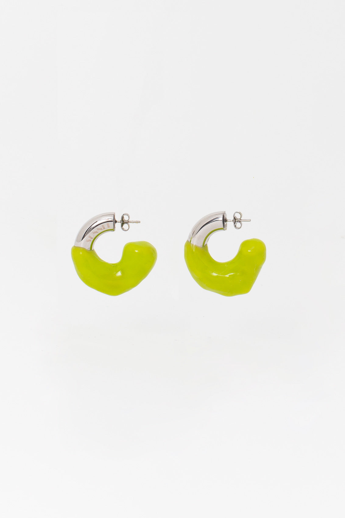 GREEN RUBBERIZED SMALL SILVER EARRINGS