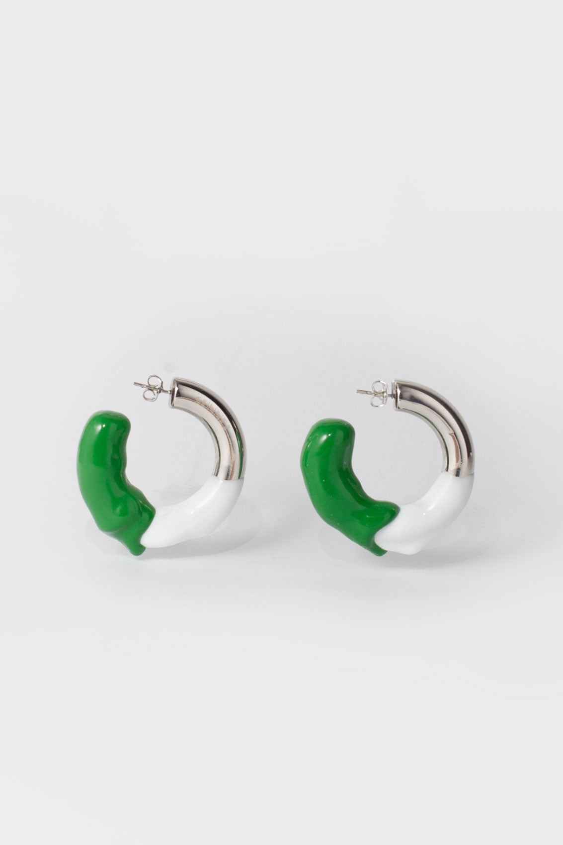 WHITE & GREEN RUBBERIZED SILVER EARRINGS