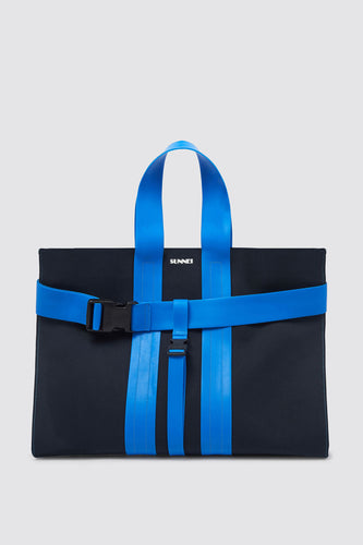 BLUE MESSENGER PARALLELEPIPEDO BAG