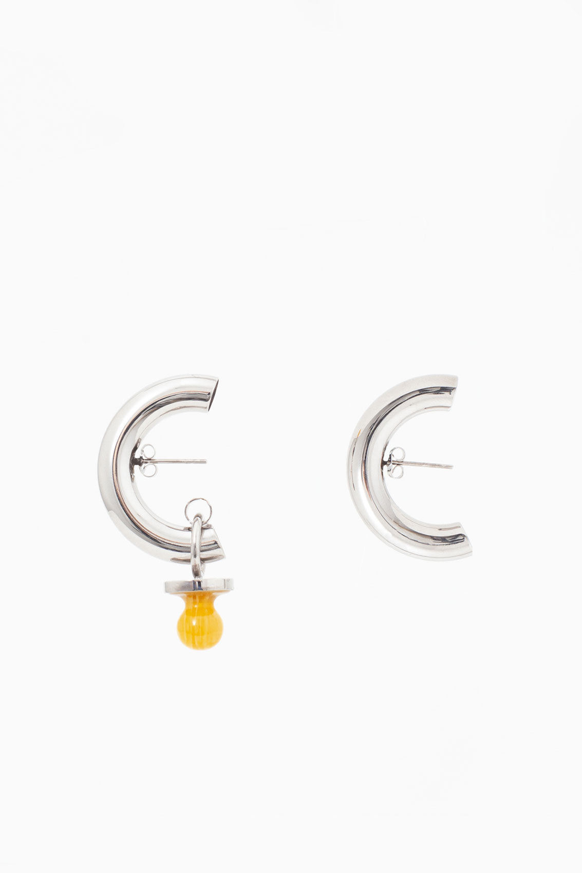 YELLOW SMALL DUMMY SILVER EARRINGS