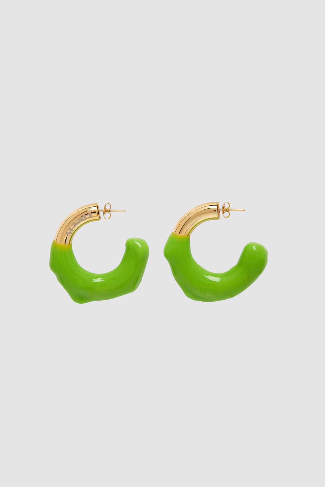 GREEN RUBBERIZED GOLD EARRINGS