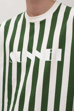 Load image into Gallery viewer, WHITE & GREEN STRIPED T-SHIRT