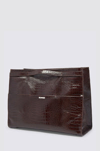 BROWN CROCO-EMBOSSED LEATHER PARALLELEPIPEDO BAG