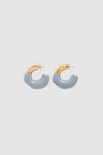 Load image into Gallery viewer, GREY RUBBERIZED SMALL GOLD EARRINGS