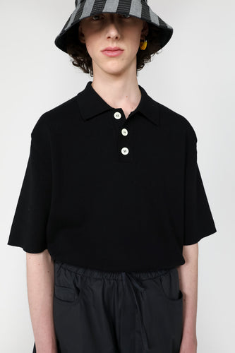 BLACK KNIT POLO SHIRT