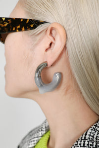 SILVER SEE-THROUGH RUBBERIZED EARRINGS