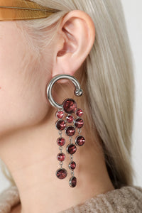 SILVER EARRINGS WITH PURPLE DETAILS