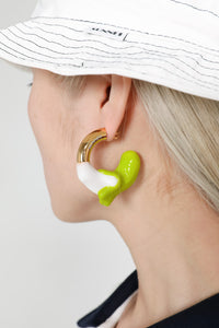 WHITE & GREEN RUBBERIZED GOLD EARRINGS