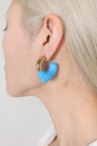 BLUE RUBBERIZED SMALL GOLD EARRINGS