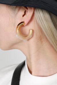 SEE-THROUGH RUBBERIZED GOLD EARRINGS