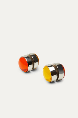 YELLOW & ORANGE CABOCHON EARRINGS WITH SILVER FINISHING