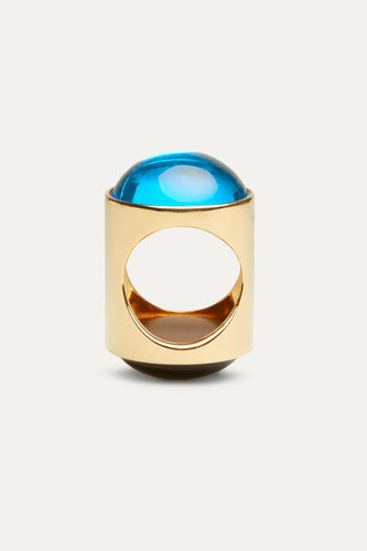 AZURE & GREY CABOCHON RING WITH GOLD FINISHING
