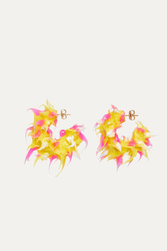 YELLOW FUCHSIA WHITE TUFT RUBBERIZED EARRINGS