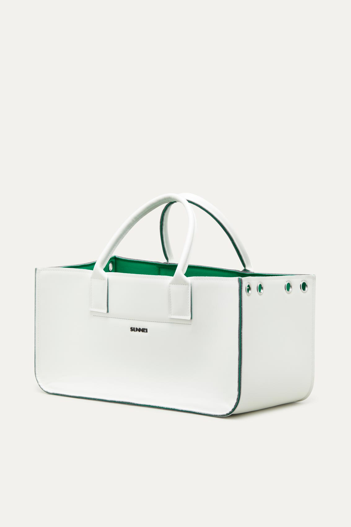 WHITE & GREEN GROCERY BAG