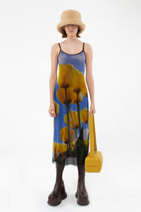 DOUBLE DRESS WITH ALLOVER TULIPS PRINT