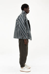 STRIPED COATED JACKET