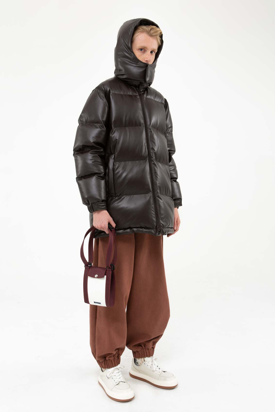 BROWN LONG PUFFY JACKET