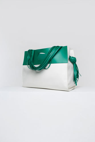 GREEN & IVORY LACE BAG WITH GREEN DETAILS