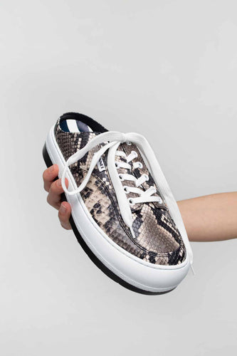 PYTHON-EMBOSSED LEATHER DREAMY SABOT