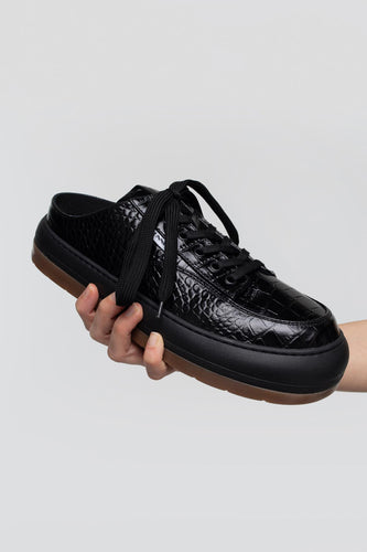 BLACK CROCO-EMBOSSED LEATHER DREAMY SABOT
