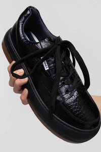 BLACK CROCO-EMBOSSED LEATHER DREAMY
