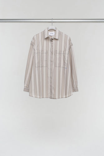BEIGE STRIPED OVER SHIRT