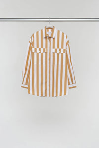 LIGHT BROWN STRIPED OVER SHIRT
