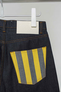 DARK DENIM CLASSIC PANTS WITH PRINTED POCKETS