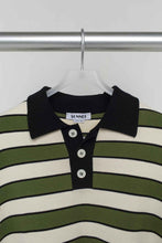 Load image into Gallery viewer, GREEN & CREAM KNIT POLO SHIRT