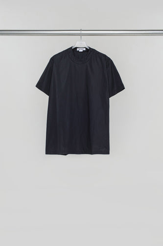 BLACK NYLON T-SHIRT WITH BUTTONS