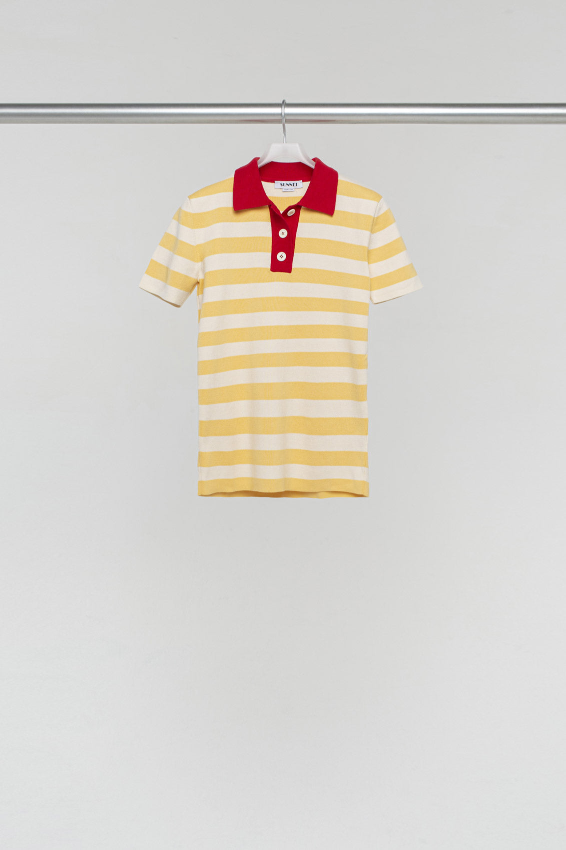 MANGO STRIPED KNIT POLO SHIRT