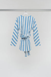 STRIPED OVER SHIRT WITH DOUBLE SLEEVES