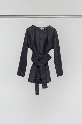 BLACK OVER SHIRT WITH DOUBLE SLEEVES