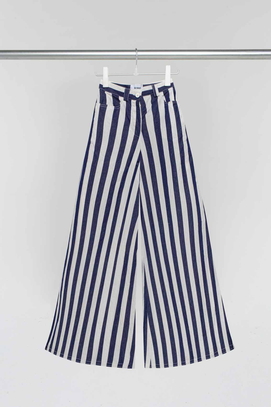 WHITE & BLUE LOOSE FIT PANTS