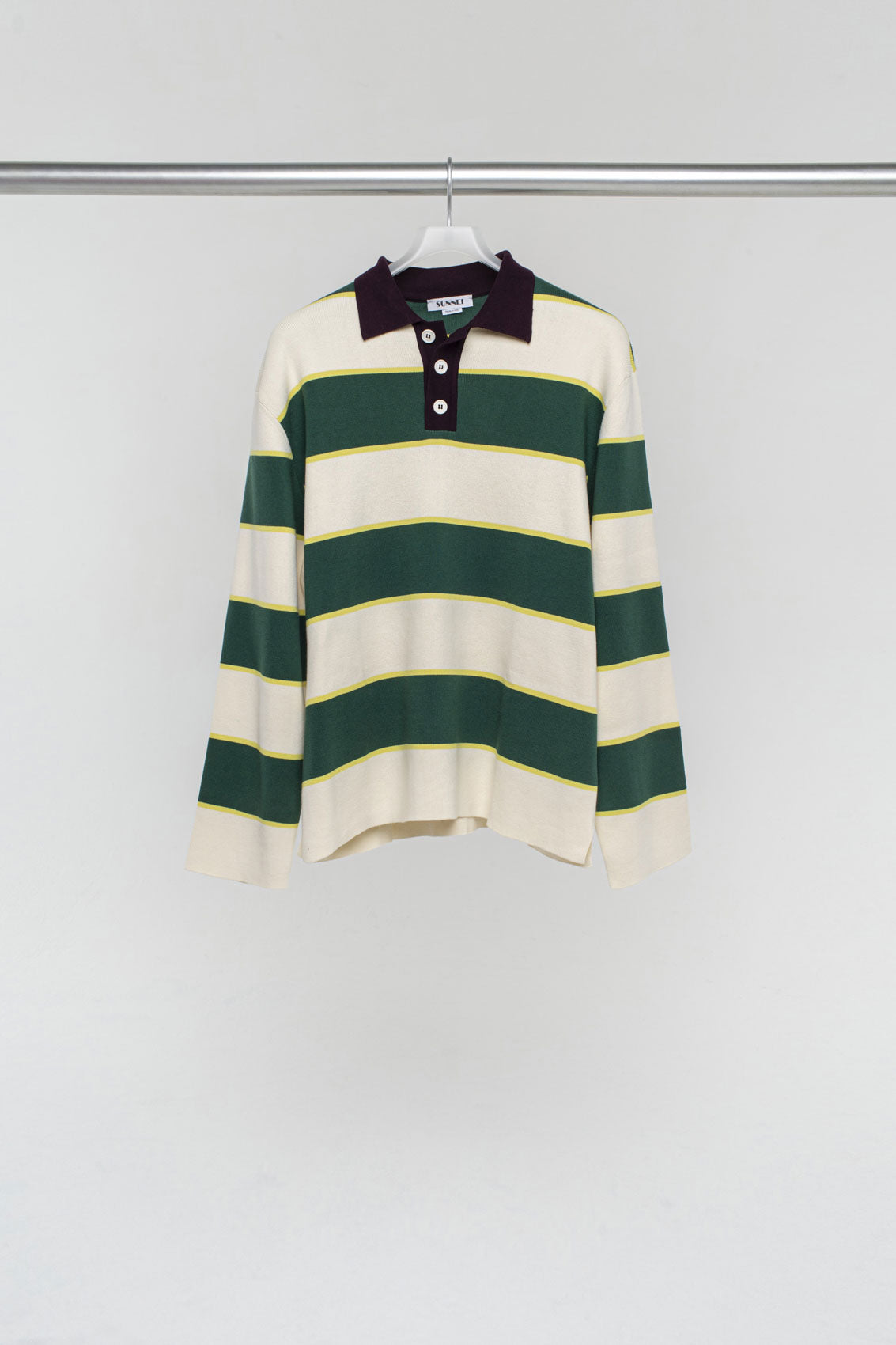 WHITE & GREEN KNIT POLO