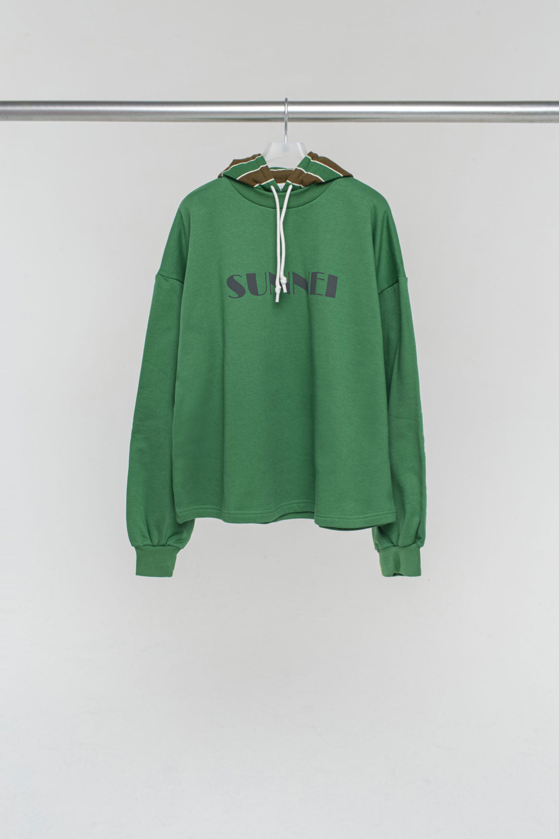GREEN SWEATER WITH STRIPED HOOD