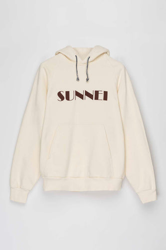 CREAM HOODIE WITH LOGO