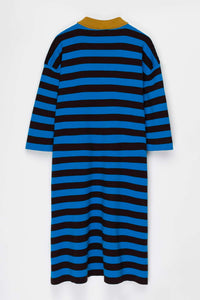 AZURE & BROWN KNIT POLO DRESS