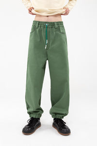 GREEN ELASTIC PANTS