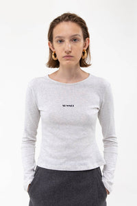 LOGO GREY LONG SLEEVE T-SHIRT