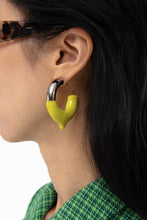 Load image into Gallery viewer, ACID YELLOW RUBBERIZED SILVER EARRINGS