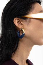 Load image into Gallery viewer, DARK BLUE RUBBERIZED GOLD EARRINGS