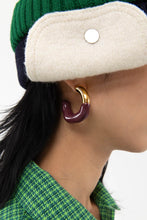 Load image into Gallery viewer, BORDEAUX RUBBERIZED GOLD EARRINGS