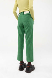 GREEN PIED-DE-POULE STRAIGHT PANTS