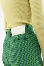 Load image into Gallery viewer, GREEN PIED-DE-POULE STRAIGHT PANTS