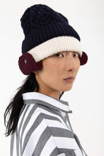 Load image into Gallery viewer, DARK BLUE & BORDEAUX KNIT BEANIE