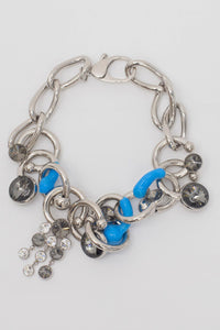 SILVER COLLIER WITH BLUE & GREY DETAILS