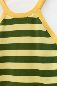 GREEN STRIPES KNIT TANK TOP